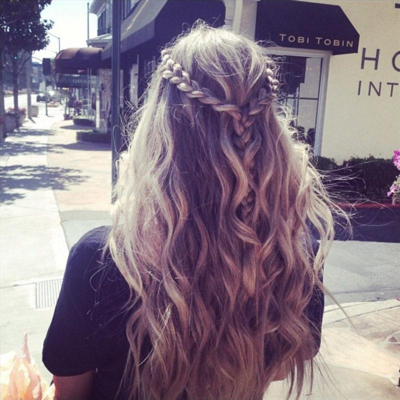 flätor långt hår
