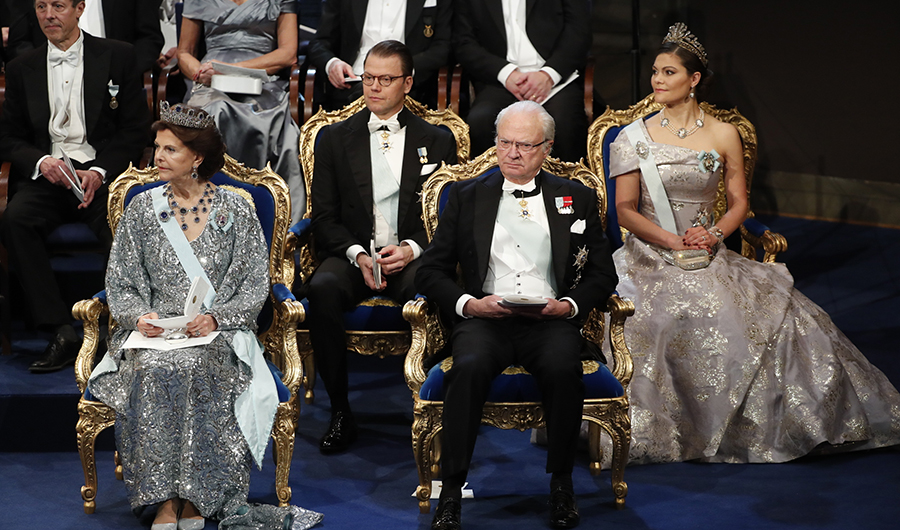 6849108 STOCKHOLM 2016-12-10. The Nobel Prize 2016. The Nobel Prize Awards ceremony today took place in the Stockholm Concert Hall, in the presence of the Swedish Royal Family. Picture shows: Queen Silvia, Prince Daniel, King Carl XVI Gustaf and Crown Princess Victoria of Sweden. COPYRIGHT STELLA PICTURES