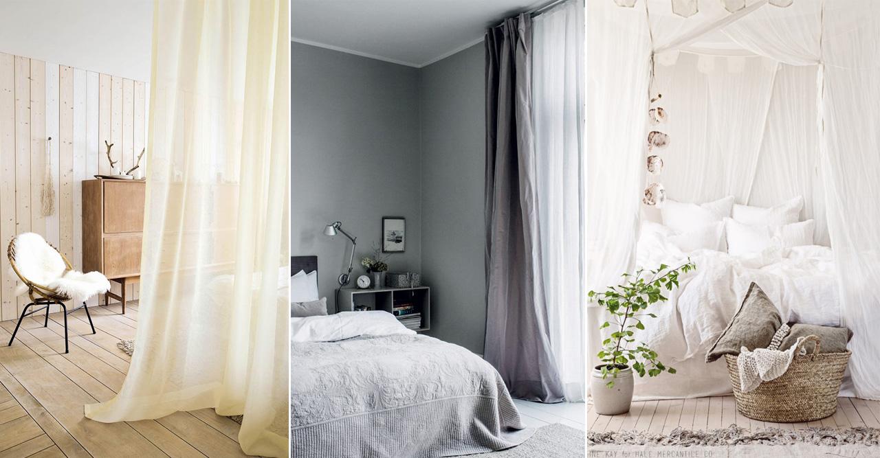 sovrum med gardiner