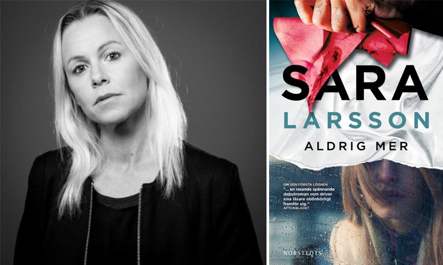 Sara Larsson och boken Aldrig mer.
