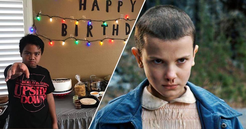Nioårige Aaron på ett tomt kalas med Stranger Things-tema.