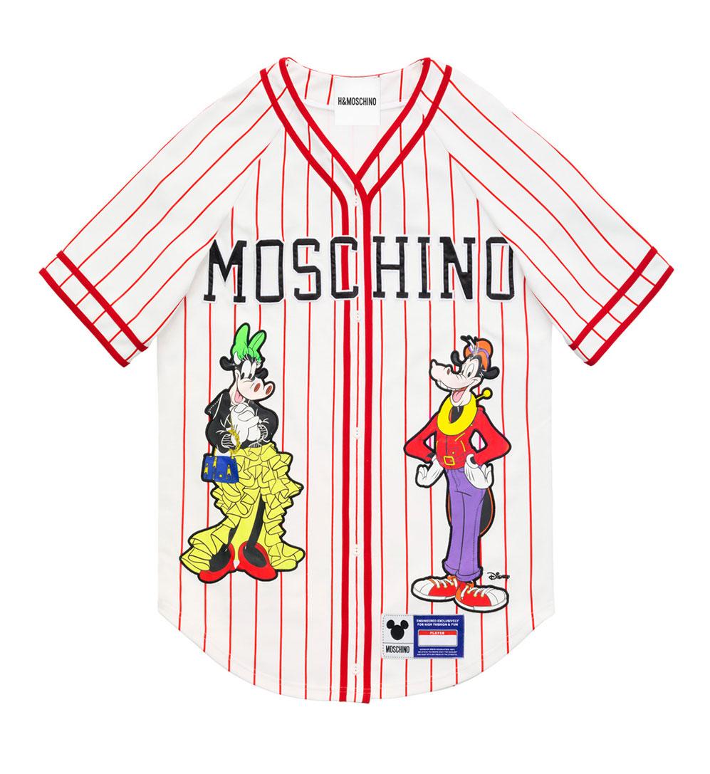 Vit baseball-tröja med röda ränder och Disney-figurer H&M x Moschino