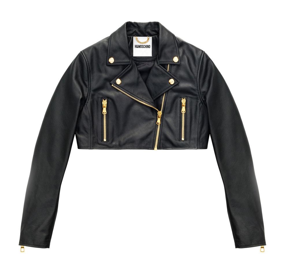 Svart kort skinnjacka H&M x Moschino