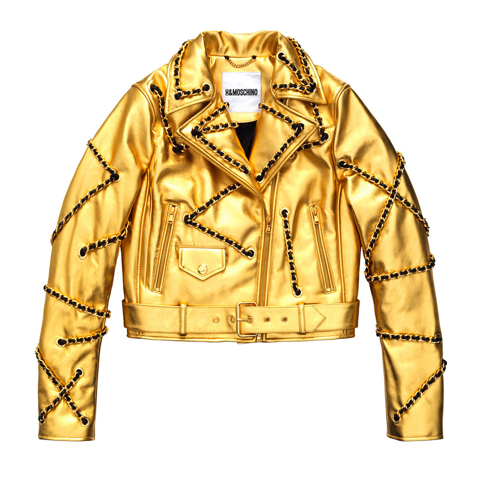 Jacka i guld med kedjor H&M x Moschino