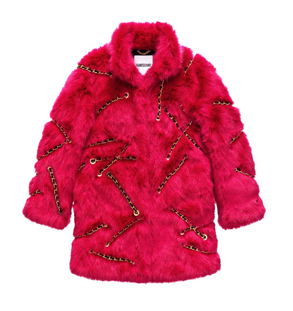 Cerise fuskpälsjacka med kedjor H&M x Moschino