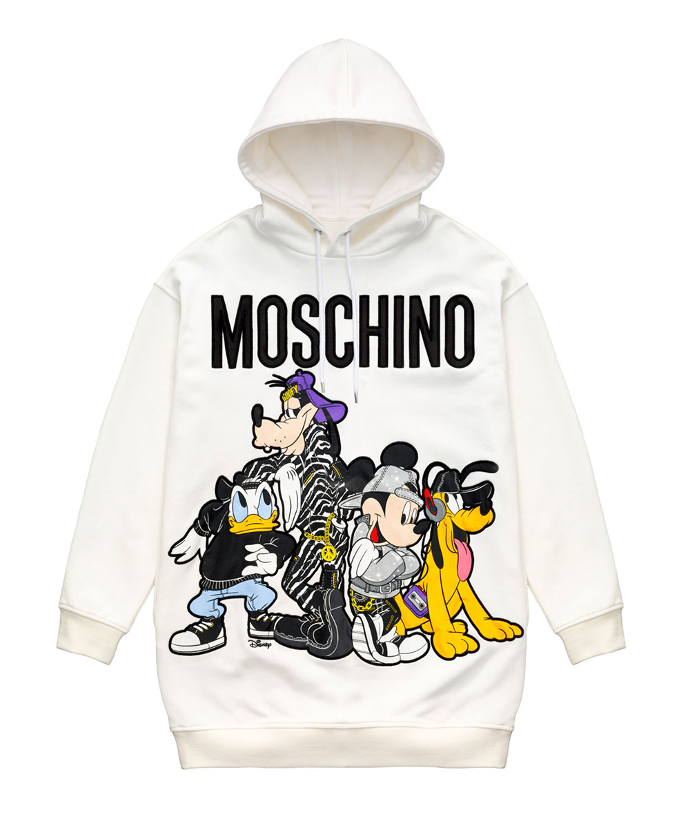 Vit sweatshirt med Disney-firgurer H&M x Moschino