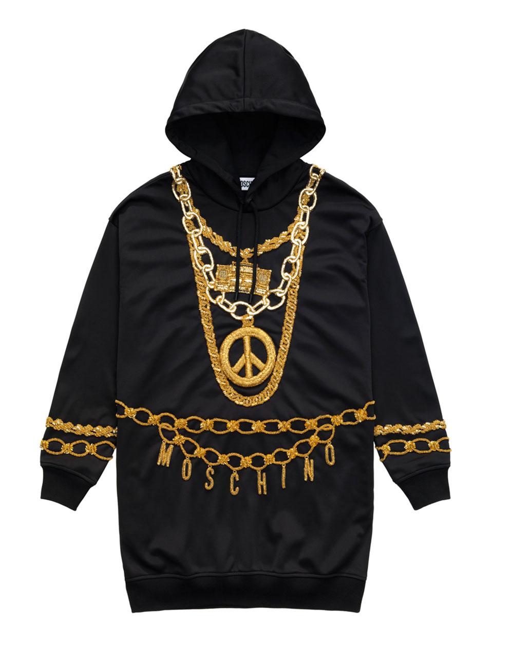 Svart längre hoodie med kedjor i guld broderade H&M x Moschino