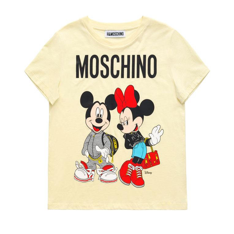 Gul t-shirt med motivet Mimmi och Musse Pigg H&M x Moschino