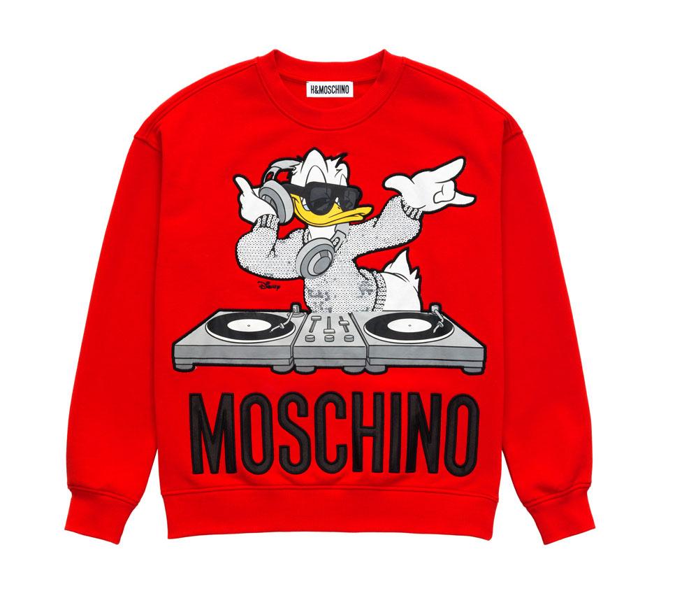 Röd sweatshirt med Kalle Anka-motiv H&M x Moschino