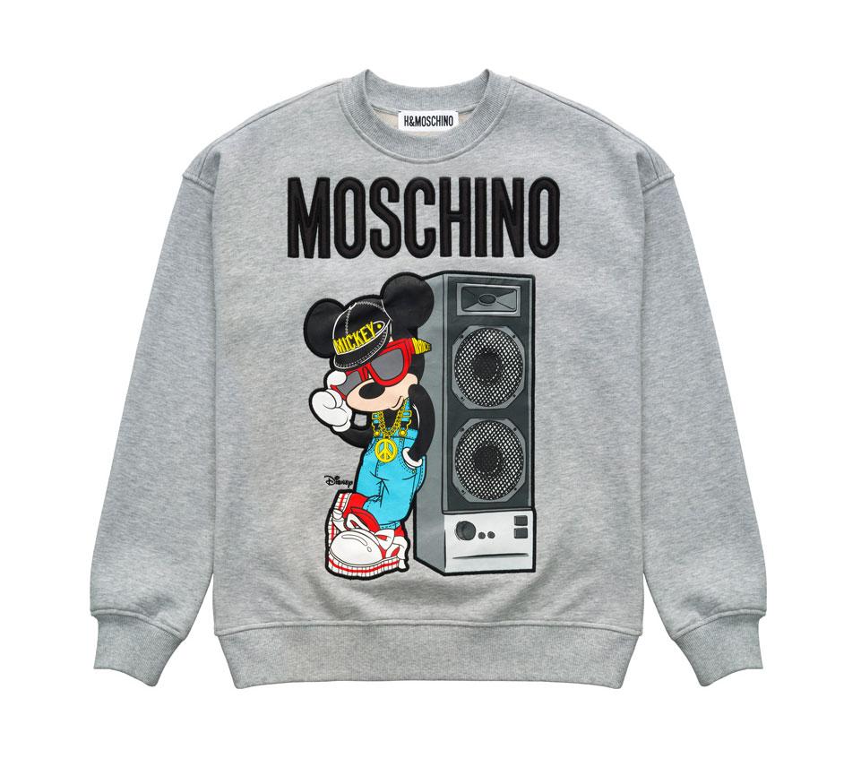 Grå sweatshirt med Musse Pigg som motiv H&M x Moschino