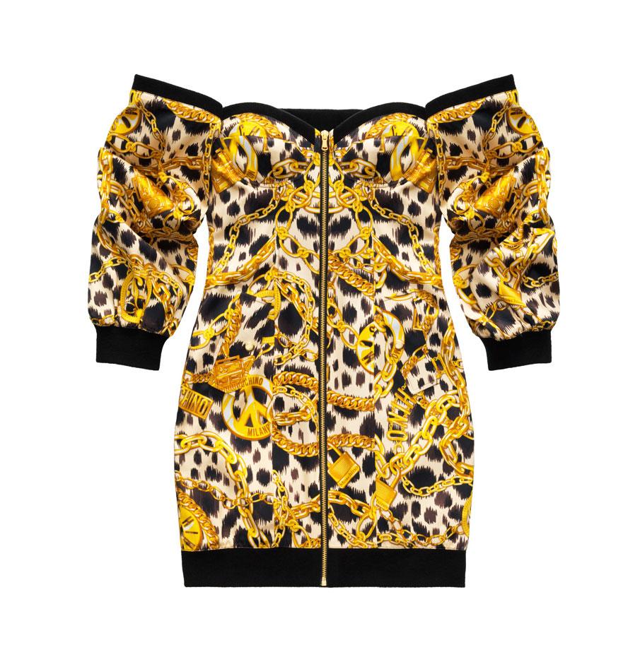 Off shoulder-leopardklänning H&M x Moschino