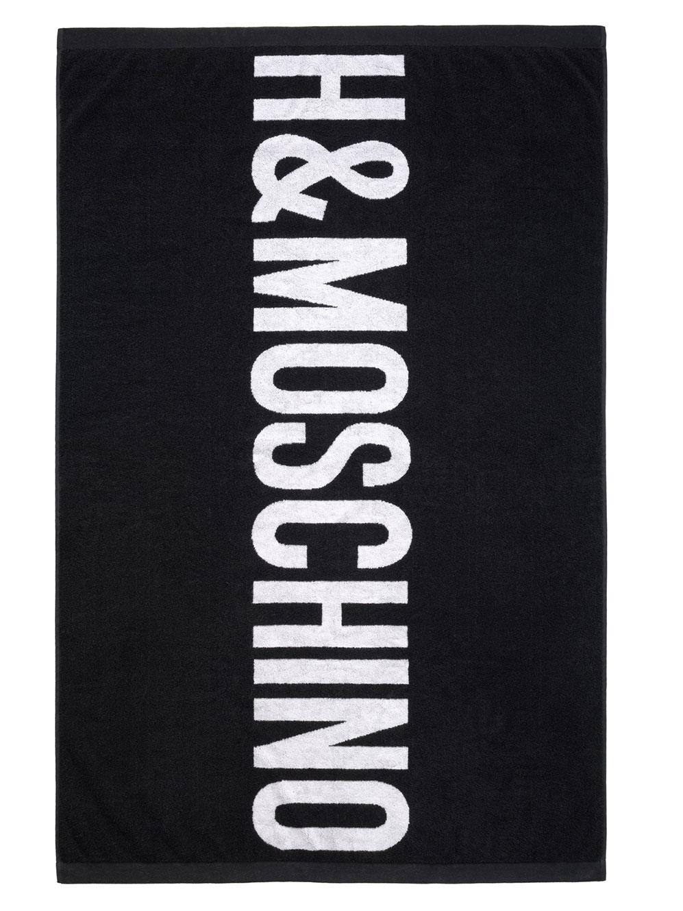 Svart handduk med vit logo H&M x Moschino