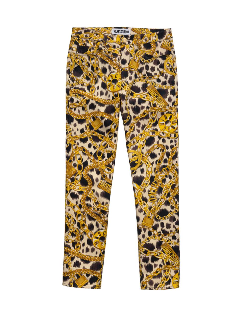 Byxor med leopard- och kedjetyg från H&M x Moschino