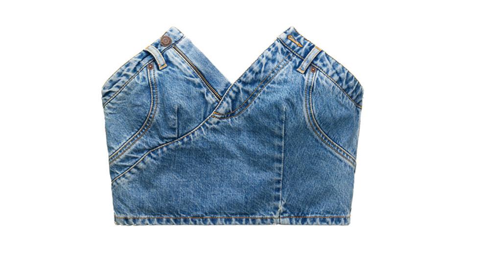 Kort axelbandslös jeanstopp från H&M x Moschino
