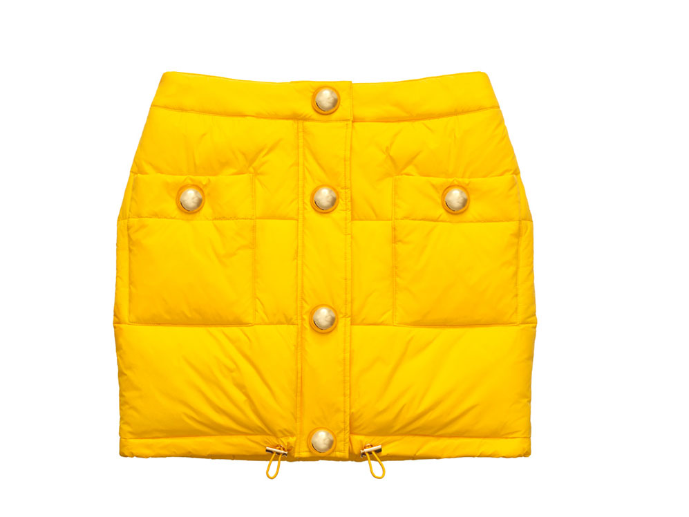 Gul kort kjol med guldiga knappar H&M x Moschino