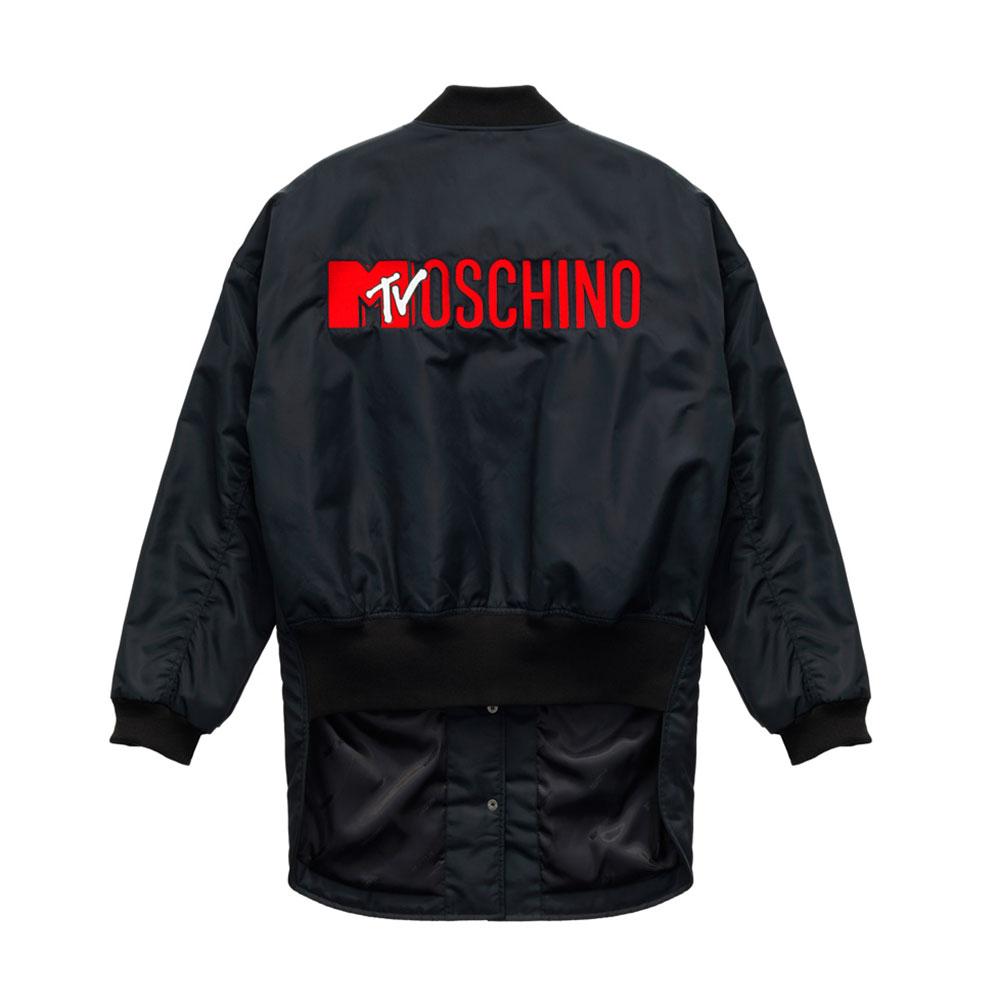 Svart jacka med tryck på ryggen H&M x Moschino