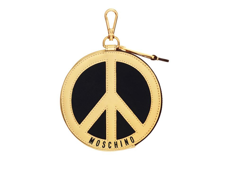Svart nyckelring med peacetecken i guld. H&M x Moschino