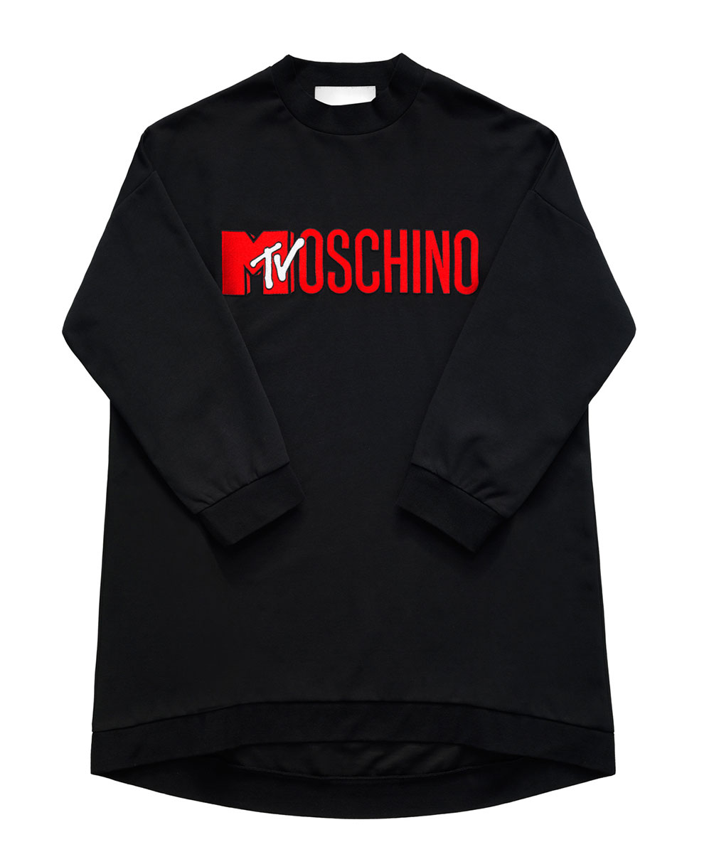 Svart sweatshirt med röd logo H&M x Moschino