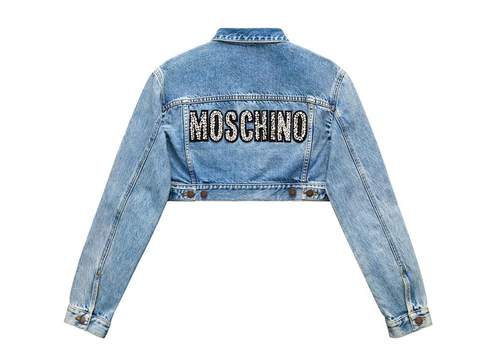 Kort jeansjacka med logo i paljetter på ryggen H&M x Moschino