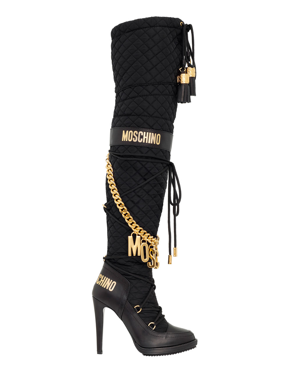 Svarta höga stövlar med klack och guldiga detaljer H&M x Moschino
