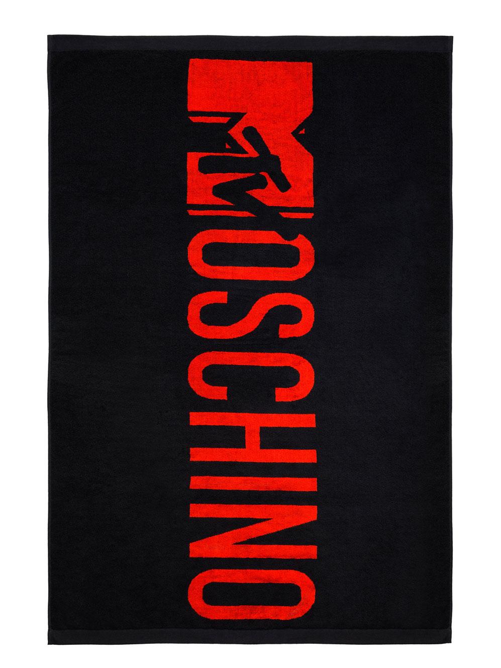 Svart handduk med röd logo H&M x Moschino