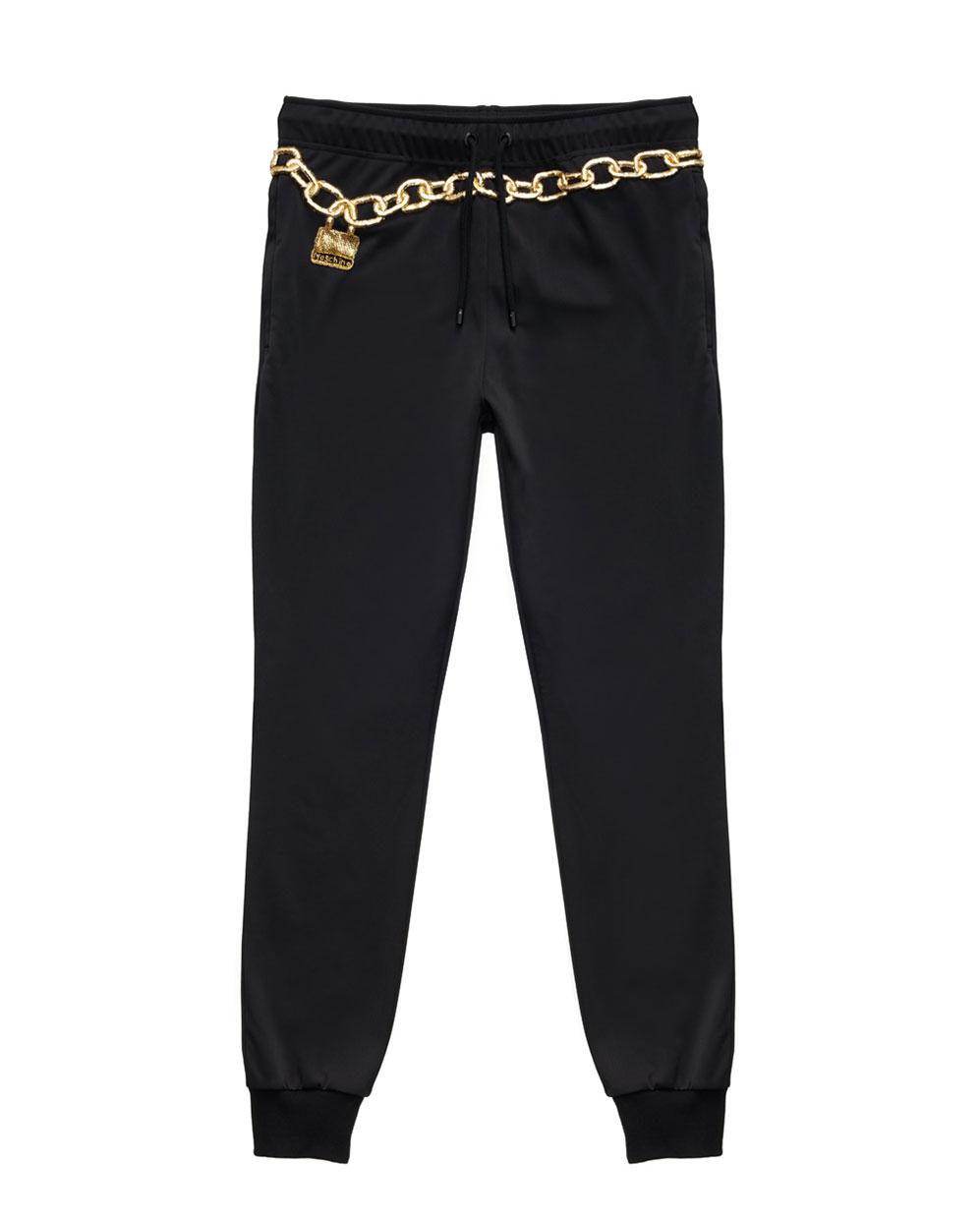 Svarta mjukisbyxor med guldbrodyr Moschino x H&M