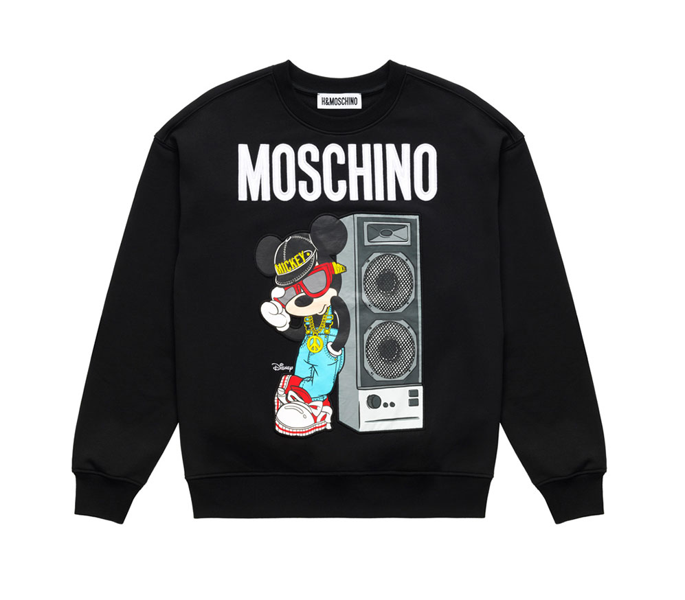 Svart sweatshirt med Musse Pigg Moschino x H&M