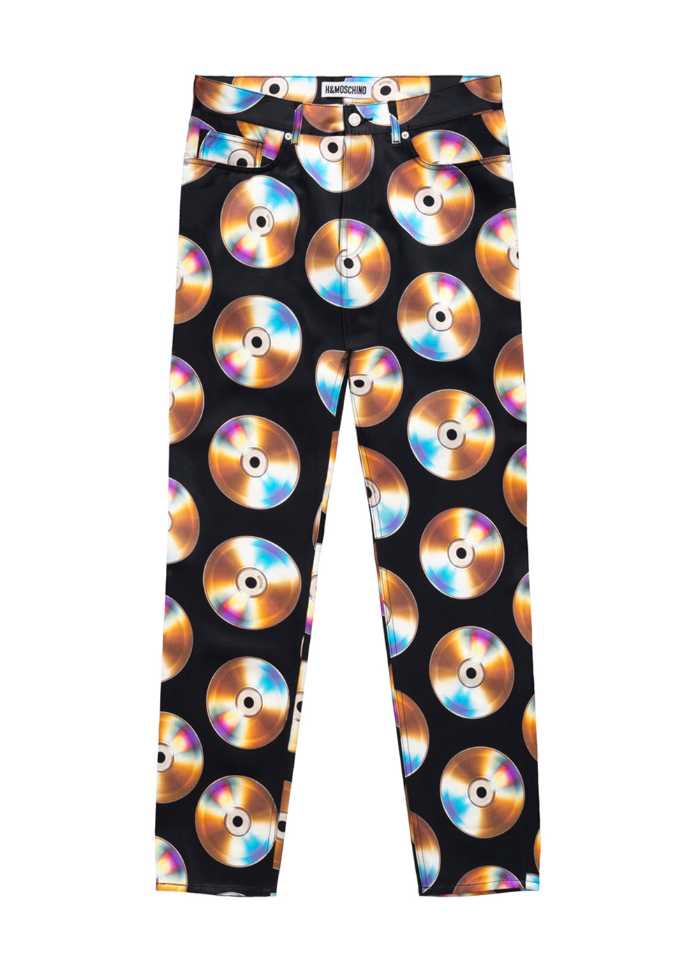 Svarta byxor med cd-skivor som motiv Moschino x H&M