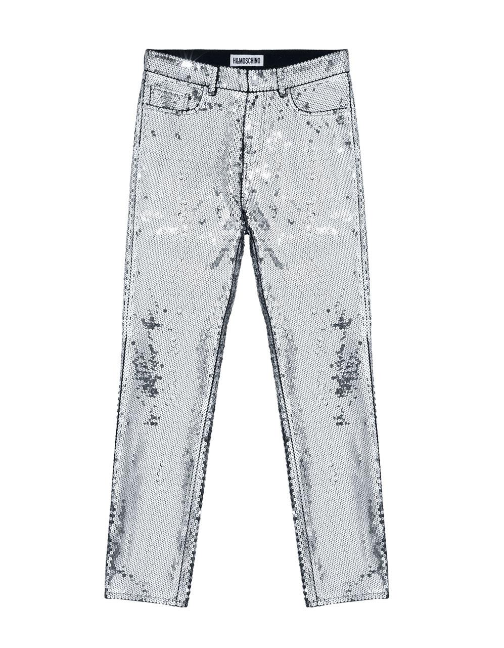 Byxor med silverpaljetter Moschino x H&M