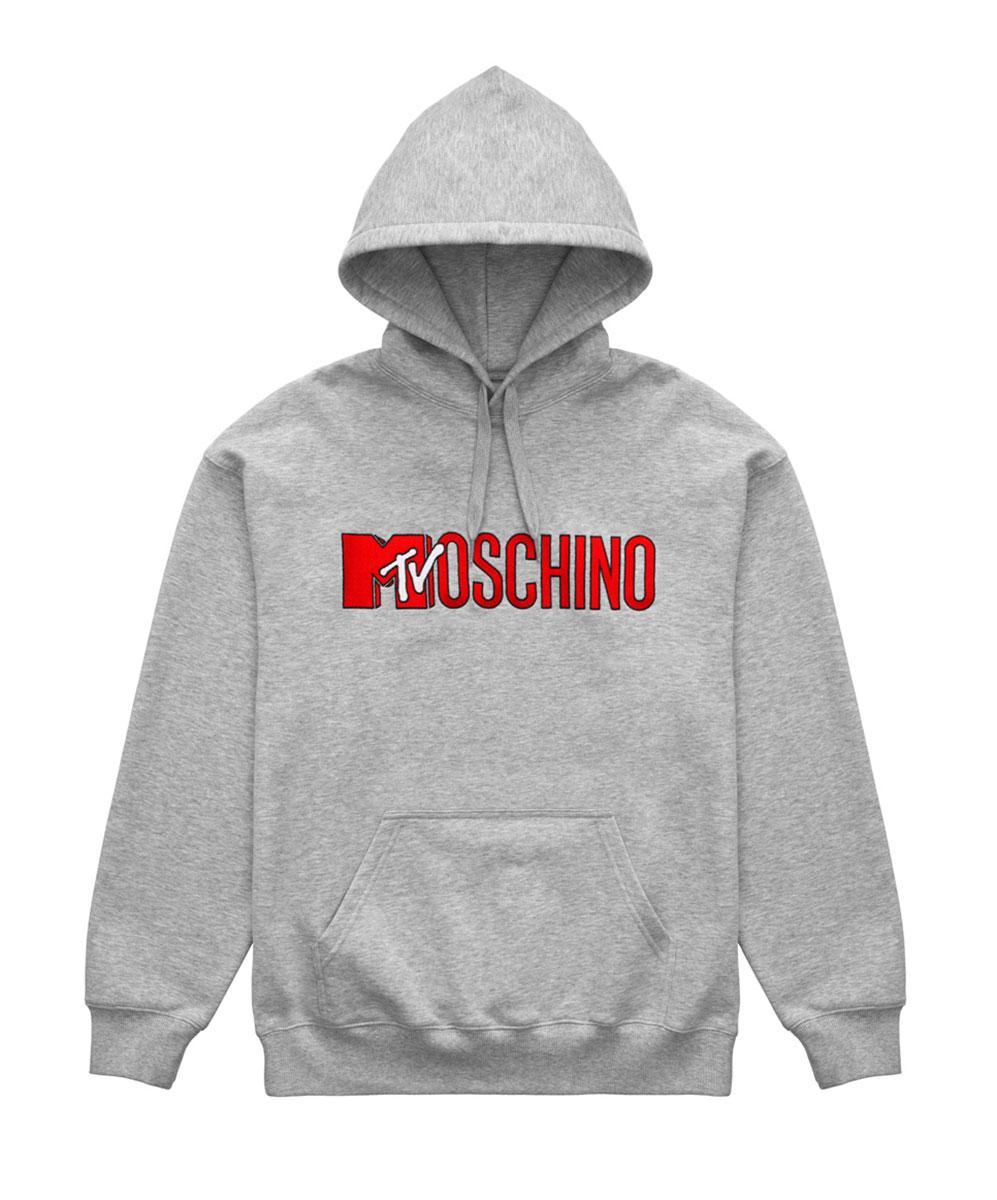 Grå hoodie med röd logo Moschino x H&M