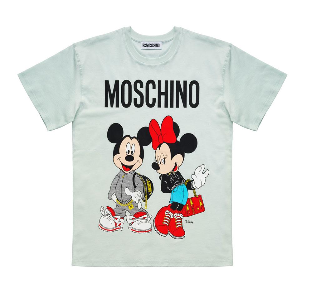 Ljusgrön t-shirt med Musse och Mimmi Pigg Moschino x H&M