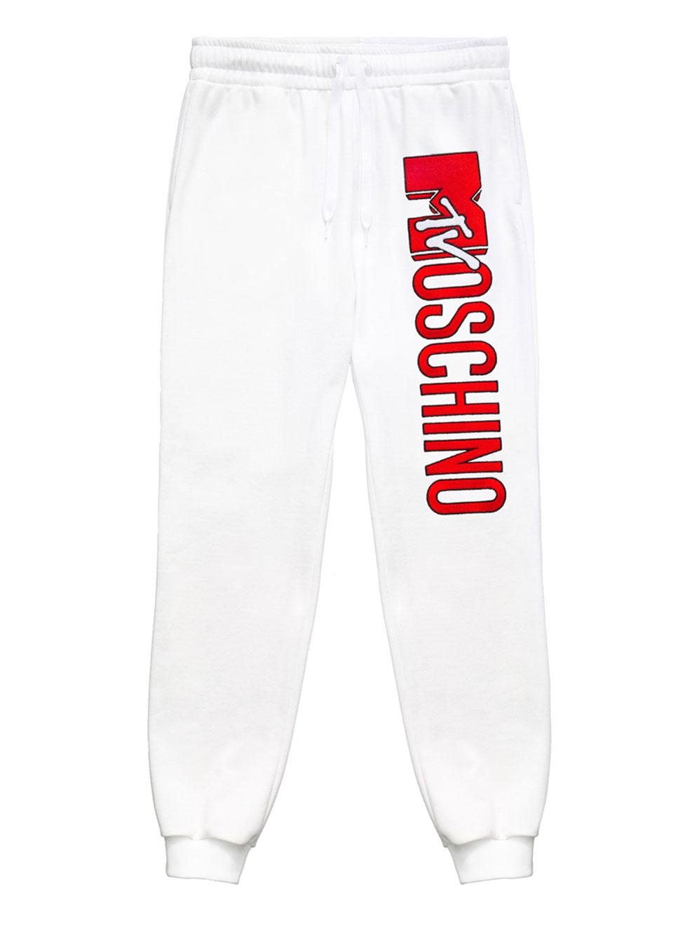 Vita mjukisbyxor med röd logo Moschino x H&M
