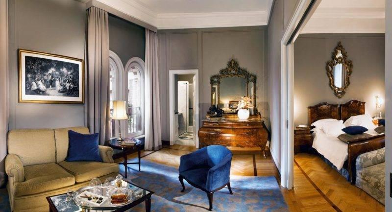 Överdådigt rum på lyxiga Grand Hotel et de Milano