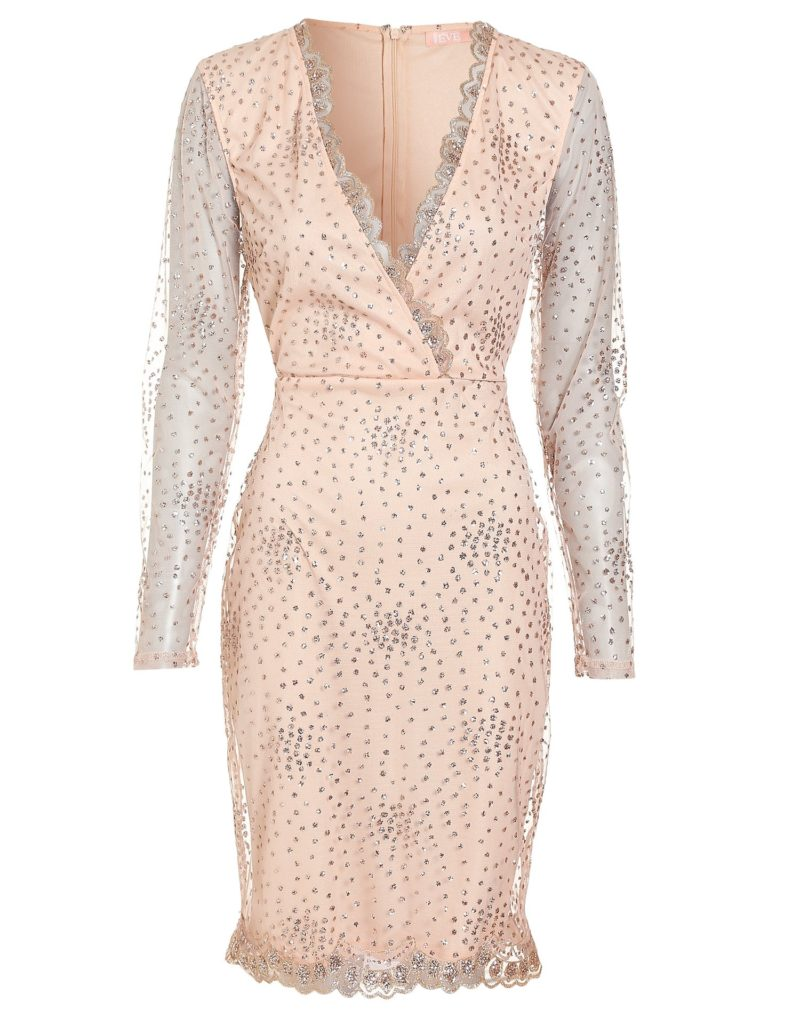 Glittrig rosa klänning till nyår