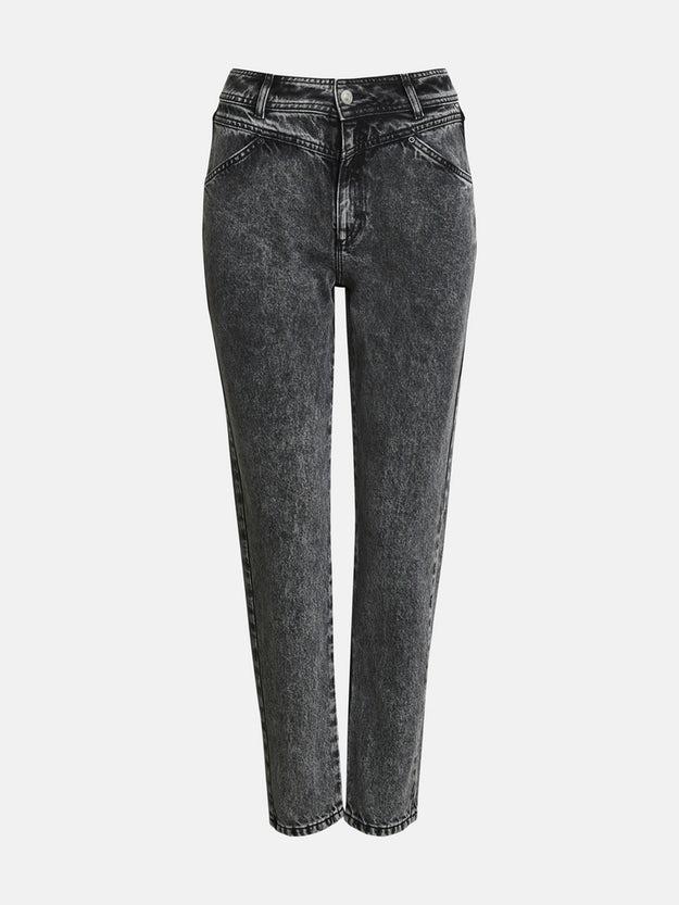 Svarta jeans med hård acid-tvätt och hög midja från Bik Bok. fac45c1aade40