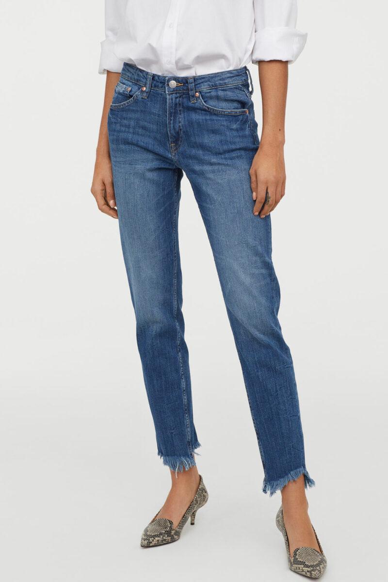 Jeans i mörk tvätt och avklippta byxben från H M 5892fd5a9ad47