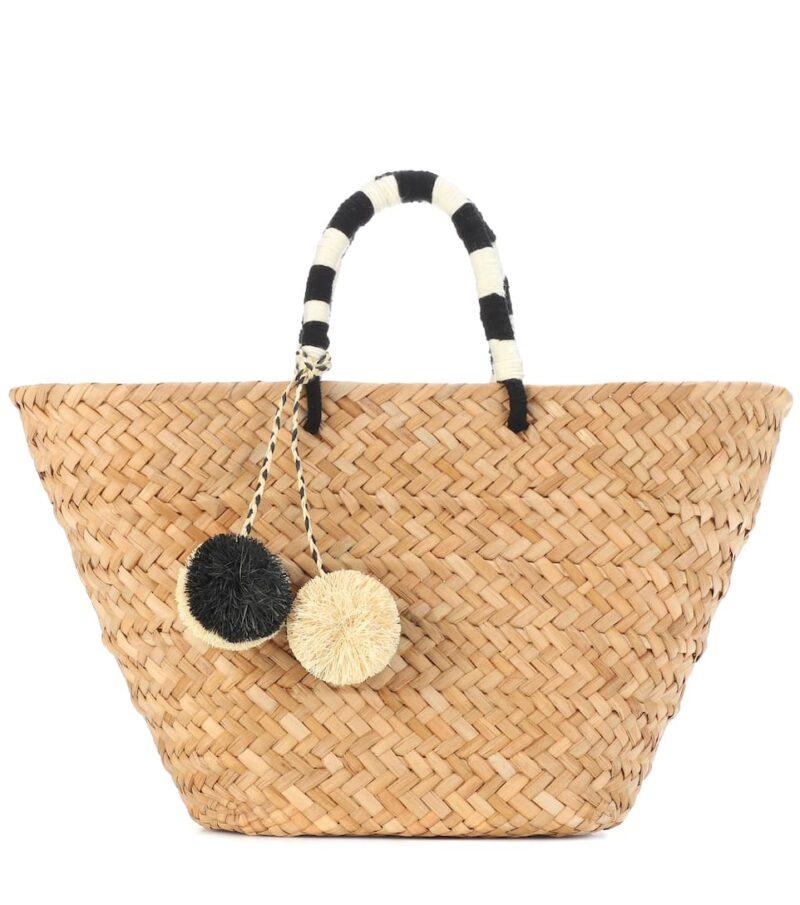 Stor stråväska med pompom-bollar i svart och vit från Kayu.