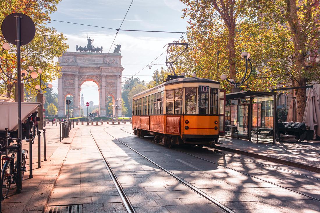 Sparvagen i Milano, Italien