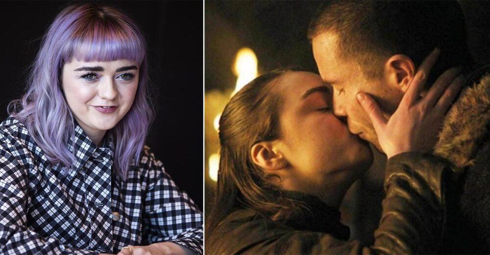 Maisie Williams som spelar Arya Stark i Game of Thrones och en bild från sexscenen med Gendry.