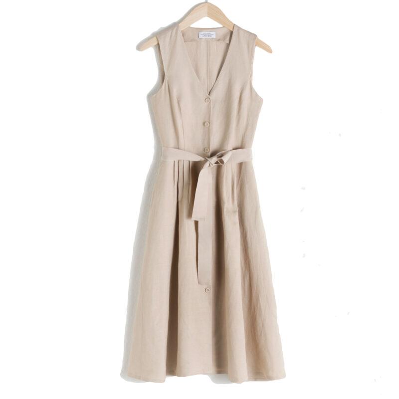 Beige klänning med knytband