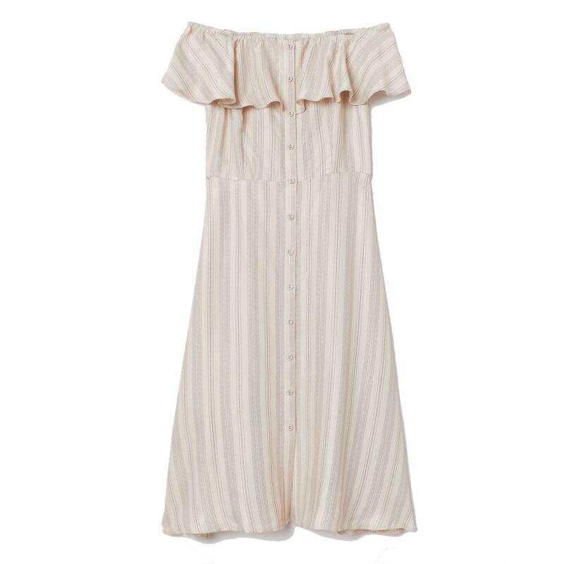 Off shoulder klänning I naturfärg