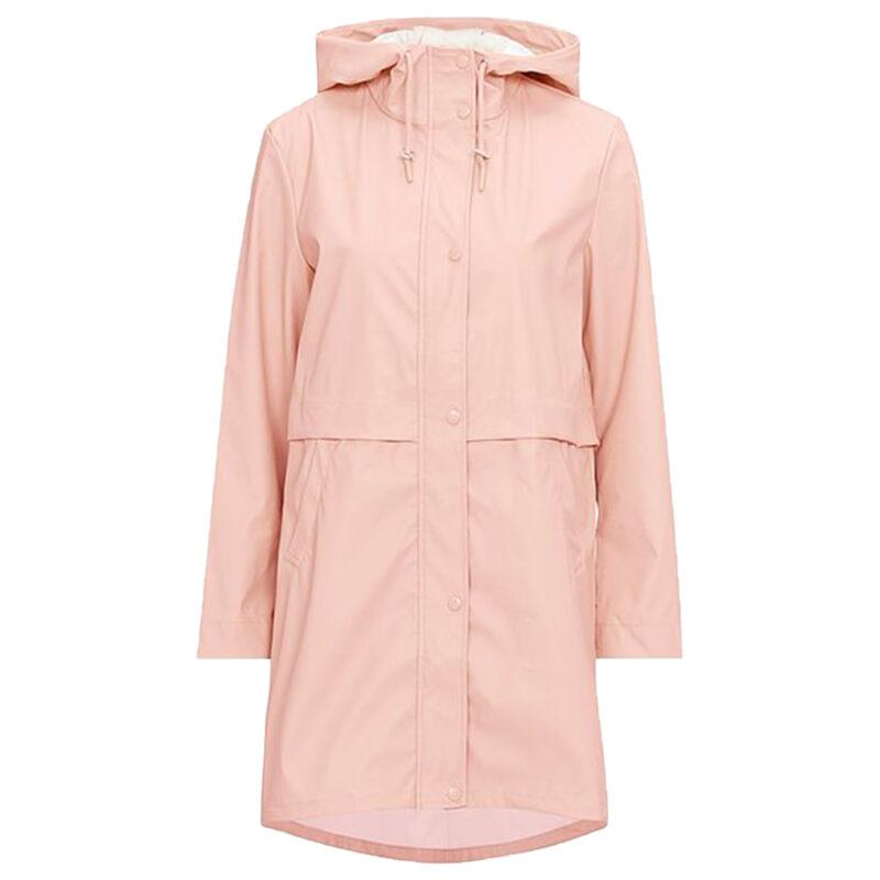 Rosa regnjacka med knappar och luva