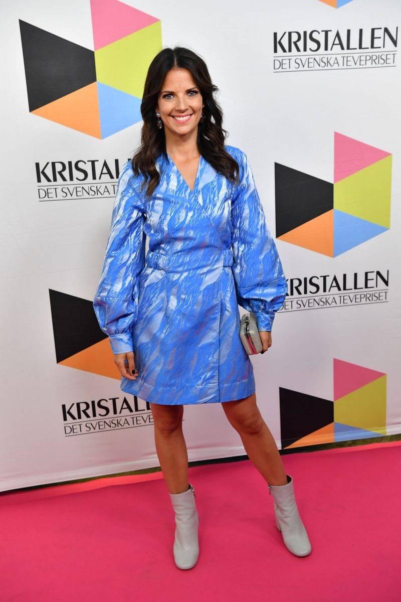 Malin Olsson på röda mattan på Kristallen 2019