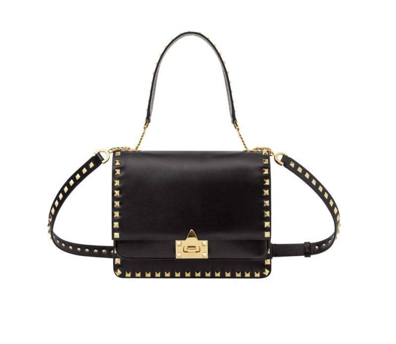 Valentino svart väska med guldnitar