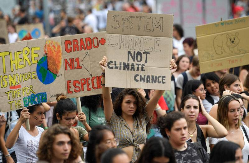 Barcelona i Spanien är en av många städer där det demonstrerades