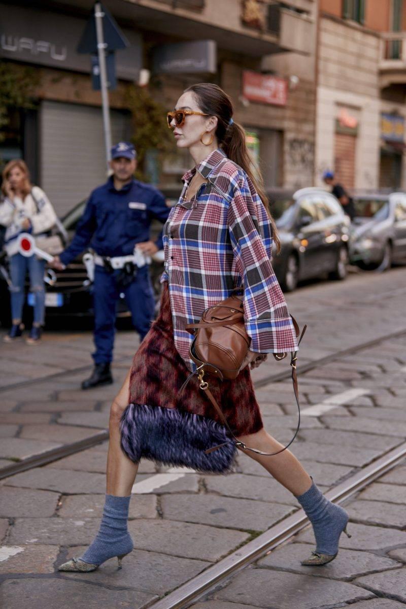 Milano Fashion Week Streetstyle SS20. Rutig kappa.