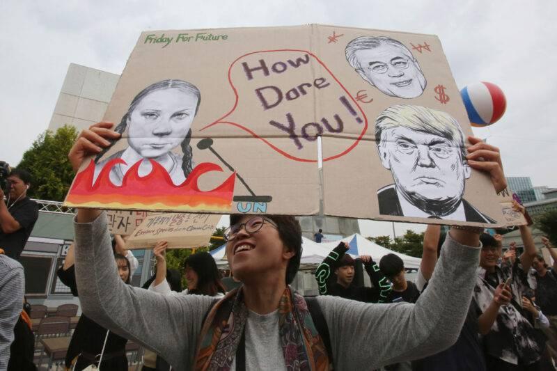 Greta Thunbergs strejk för klimatet ägde bland annat rum i Seoul, Sydkorea