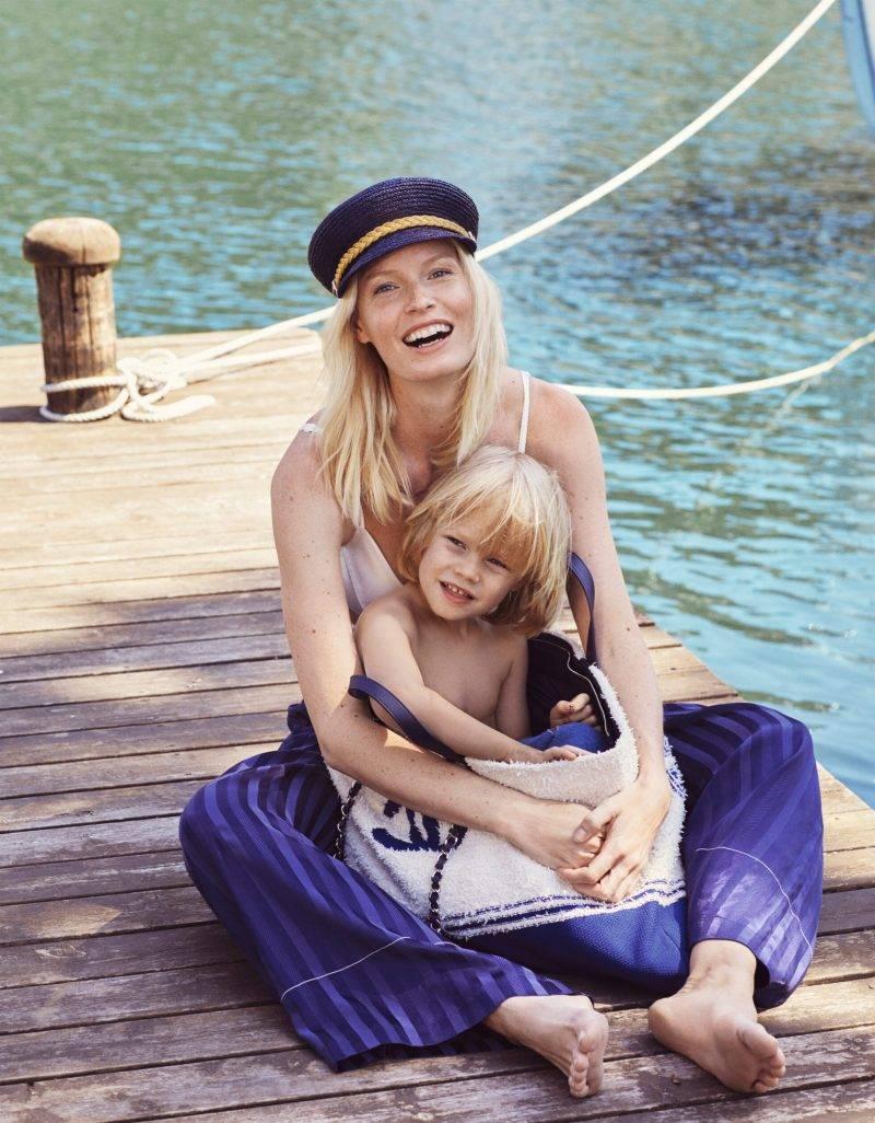 Caroline Winberg i exklusiv intervju i ELLE, Caroline på bryggan med sin son Casper