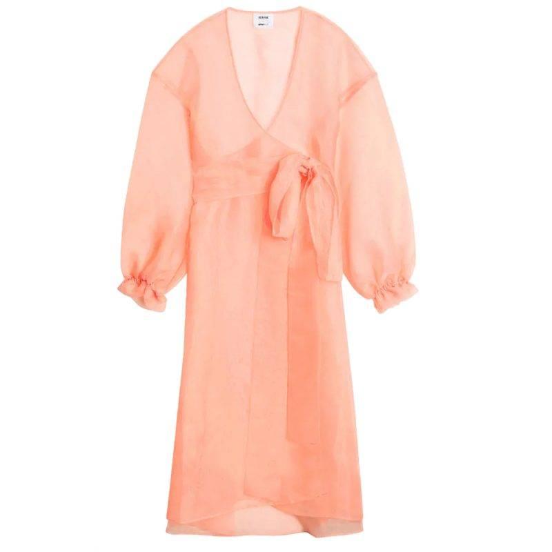 Rosa transparant omlottklänning gina tricot
