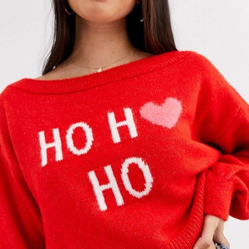 """Jultröja med texten """"ho ho ho"""" på"""